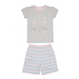 Marquise - Girls Cat Summer Pyjamas - Grey Marle/Stripe