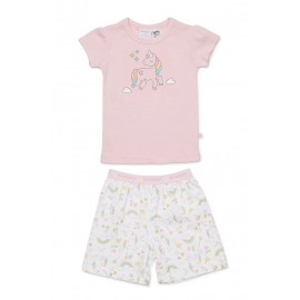 Marquise - Girls Unicorn Summer Pyjamas - Grey/Print