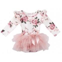 Designer Kidz - Forever Florals Long Sleeve Petti Romper - White/Pink