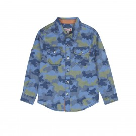 Boboli - Boys Long Sleeve Shirt - Blue Camo