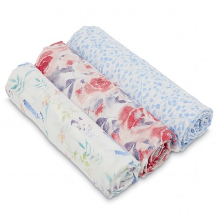 Aden + Anais - White Label Water Colour Garden - 3 pack Silky Soft Swaddles