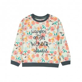 Boboli - Girls Fleece Sweatshirt - Orange Floral