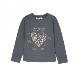 Boboli - Girls Stretch Long Sleeve Top - Charcoal