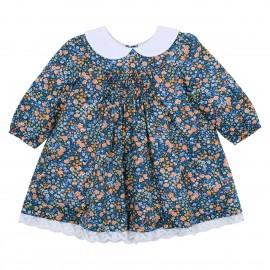 Bebe - Liberty Shirred Long Sleeve Dress with Collar - Phoebe