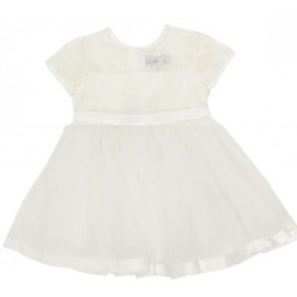 Bebe - Short Sleeve Organza Dress with Bow - Ivory