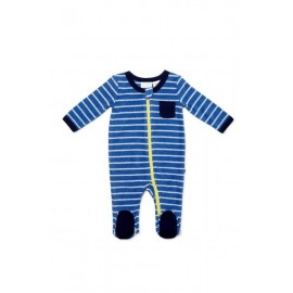 Marquise - Boys Blue Stripe Terry Towelling Zipsuit