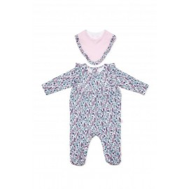Marquise - Sage Footed Studsuit and Bib Pink Stripe and Print