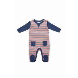 Marquise - Stripe Footed Studsuit