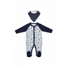 Marquise - Footed Studsuit and Bib - Blue/Navy