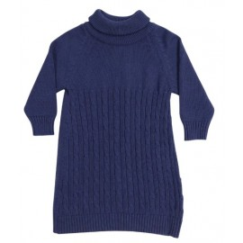 Korango Australia - Stars Turtle Neck Cable Knit Dress - Navy