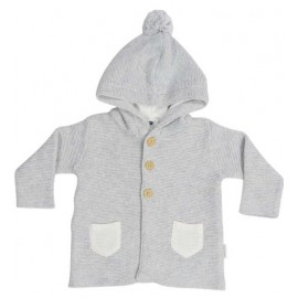Korango Australia - Baa Baa White Sheep Hooded Knit Jacket with Contrast Pocket - Grey