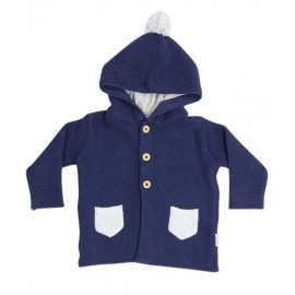 Korango Australia - Baa Baa White Sheep Hooded Knit Jacket with Contrast Pocket - Navy