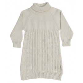 Korango Australia Vamos Vintage Girls Cable Knit Turtle Neck Dress - Beige