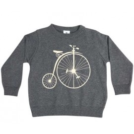 Korango Australia - Vamos Vintage Boys Knit Sweater with Print Charcoal