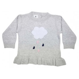 Korango Australia - Raindrops Knit Sweater with Frill Grey Marle