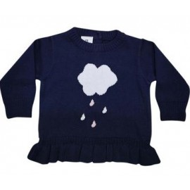 Korango Australia - Raindrops Knit Sweater with Frill Navy