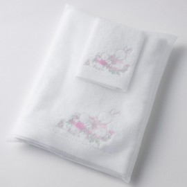 Pilbeam - Baby Girl Rabbit embroidered bath towel & washer in organza bag