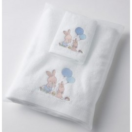 Pilbeam - Boy Bunny embroidered face washer