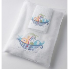 Pilbeam - Baby Ark embroidered bath towel & washer in organza bag
