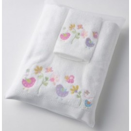 Pilbeam - Baby Birdie & Friends embroidered bath towel & washer in organza bag