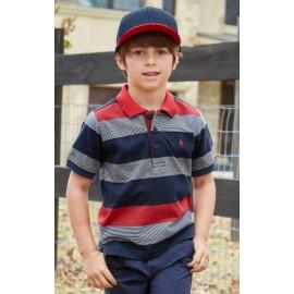 Thomas Cook - Boys Lewis Stripe Short Sleeve Polo - Red